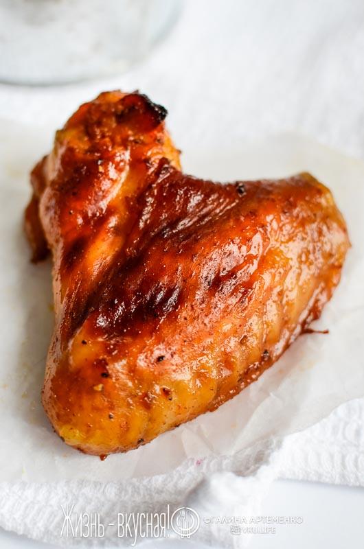 крылышки в глазури с медом и соевым соусом