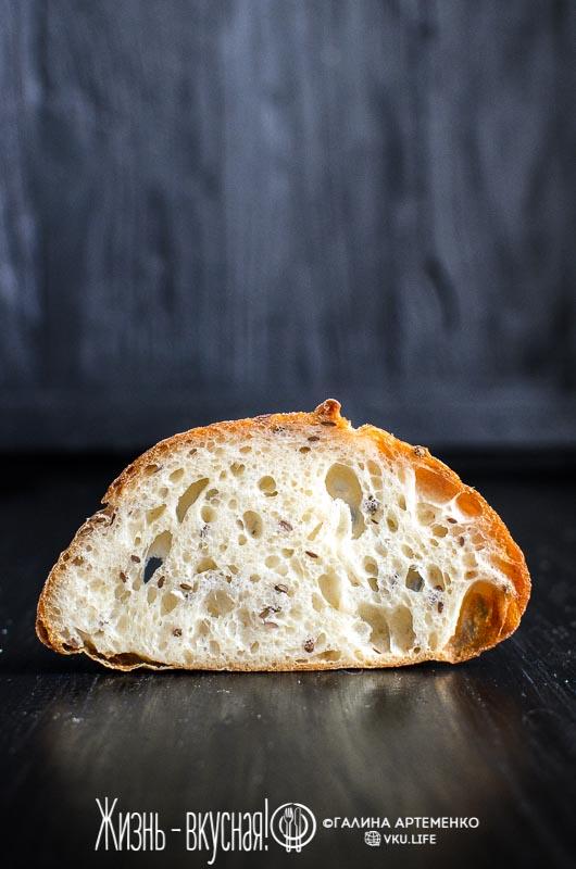 хлеб со льном на закваске