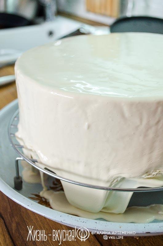 торт мусс с зеркальной глазурью