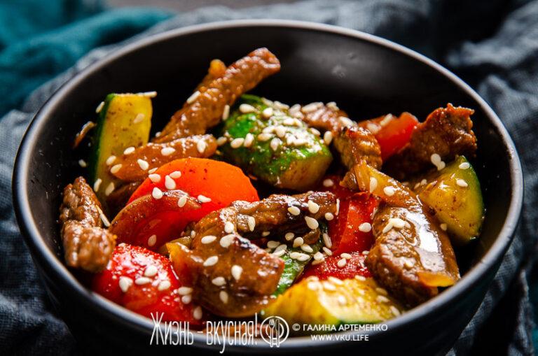 салат из говядины и огурцов