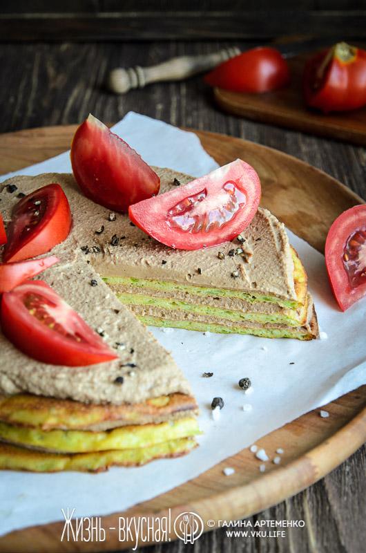 торт из кабачков с помидорами печеночным паштетом