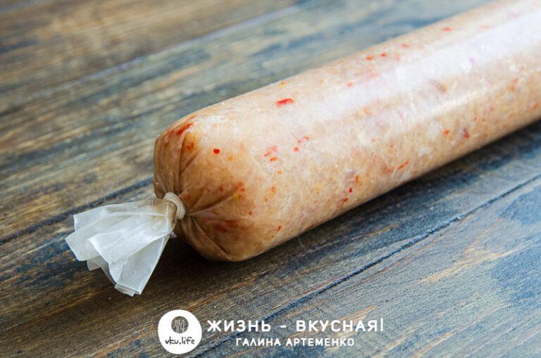 домашняя колбаса в духовке из курицы