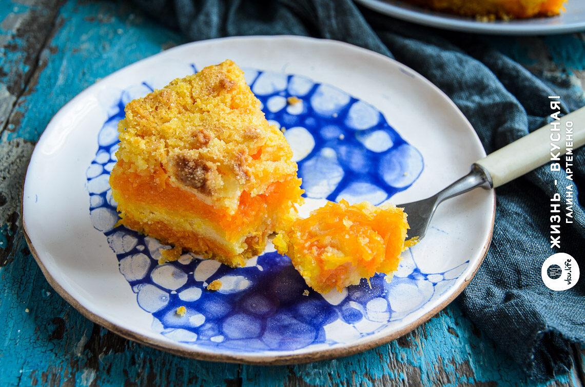 насыпной пирог с тыквой